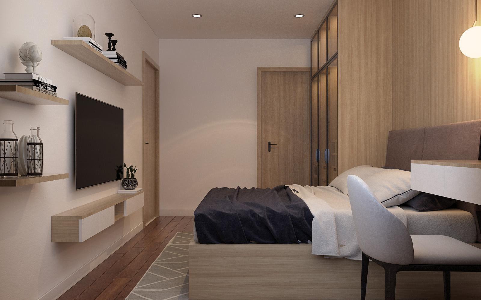 thiết kế nội thát phòng ngủ với gỗ công nghiệp MDF chống ẩm An Cường phủ Melamine