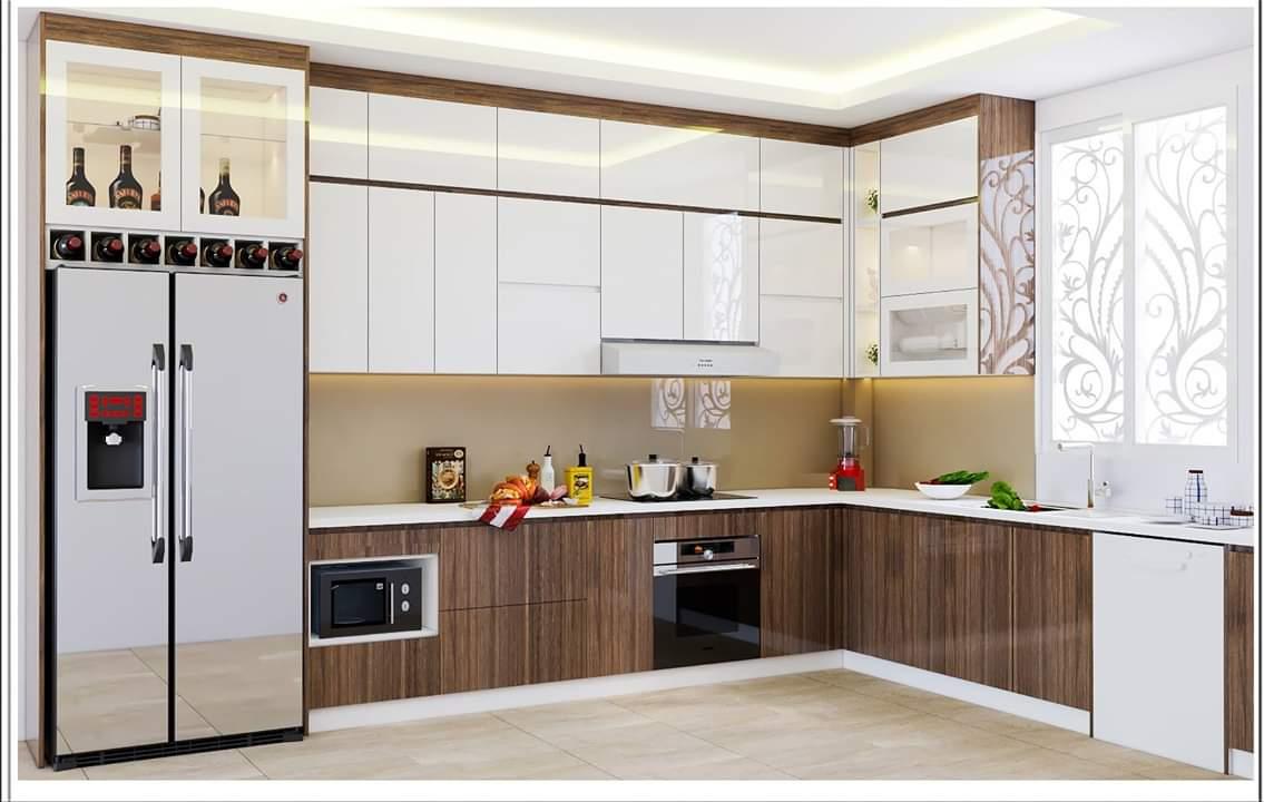 Mẫu Tủ bếp đẹp ván MDF lõi xanh chống ẩm phủ MELAMINE bền màu, chịu lực tốt, khó trầy xước