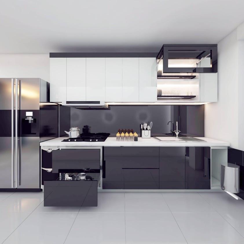 Tủ bếp đẹp cánh phủ Acrylic