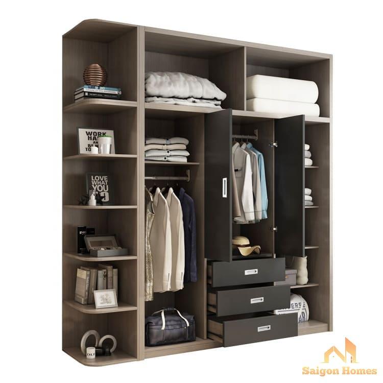 Mẫu tủ quần áo thiết kế hiện đại nhất năm 2020 tại nội thất saigon homes. tủ đựng quần áo gỗ công nghiệp với giá thành rất tốt