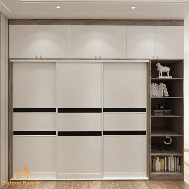 Tủ gỗ đựng quần áo có thiết kế cửa trượt thông minh, tiết kiệm diện tích.