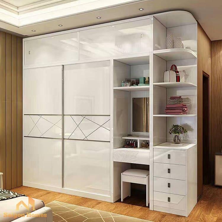 tủ quần áo đẹp kết hợp bàn trang điểm cho căn hộ chung cư tại thành phố hồ chí minh